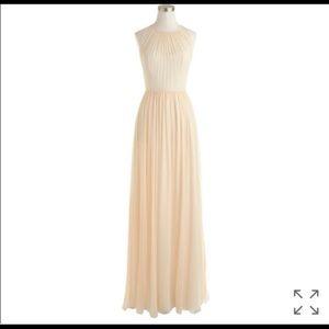 J Crew Megan Long Dress Silk Chiffon Champagne